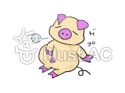 お腹いっぱいの豚2イラスト/無...
