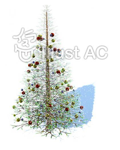 雪に埋もれるクリスマスツリーのイラスト
