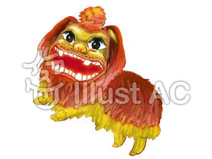 中国の春節で使われる獅子のイラスト