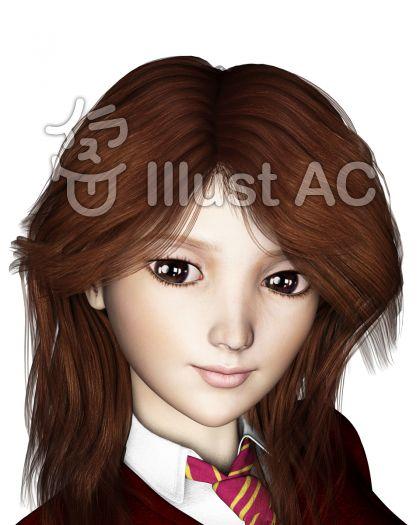 女子高生の微笑のイラスト