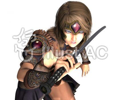 刀を持ち疾走する少女戦士のイラスト