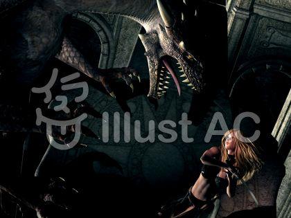 ドラゴンと戦う女性剣士のイラスト