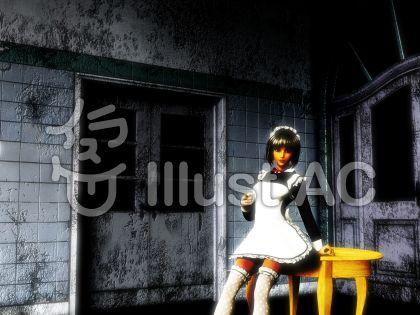 メイドの幽霊のイラスト