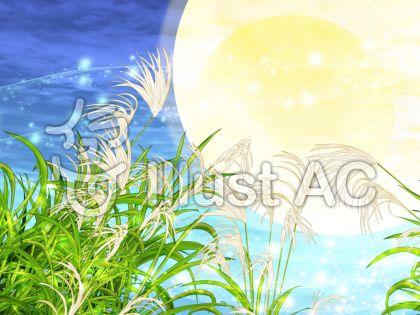 キラキラススキと満月の背景(青)のイラスト