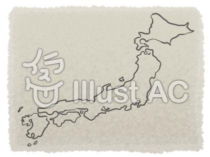 和紙に筆で日本風地図のイラスト