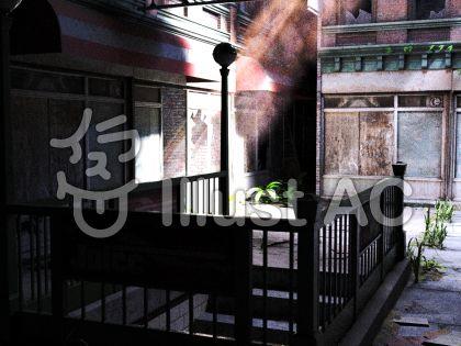 廃墟の町に差込む光のイラスト
