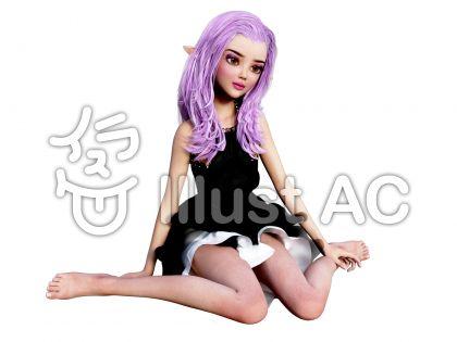 微笑みながら女の子座りする妖精女子のイラスト