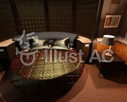 夜の寝室のイラスト