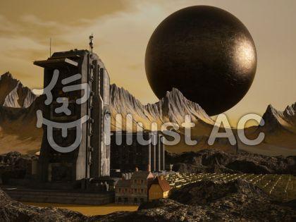 惑星都市のイラスト